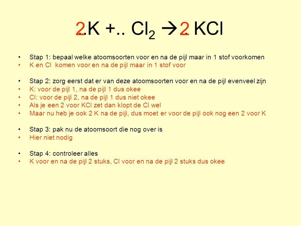 ..K +.. Cl 2 .. KCl Stap 1: bepaal welke atoomsoorten voor en na de pijl maar in 1 stof voorkomen K en Cl komen voor en na de pijl maar in 1 stof voo