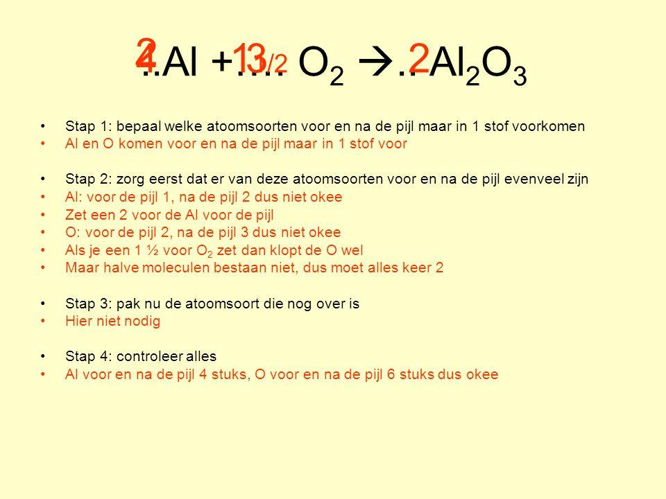..Al +…. O 2 .. Al 2 O 3 Stap 1: bepaal welke atoomsoorten voor en na de pijl maar in 1 stof voorkomen Al en O komen voor en na de pijl maar in 1 sto