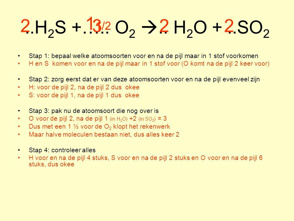 ..H 2 S +….. O 2 .. H 2 O +..SO 2 Stap 1: bepaal welke atoomsoorten voor en na de pijl maar in 1 stof voorkomen H en S komen voor en na de pijl maar