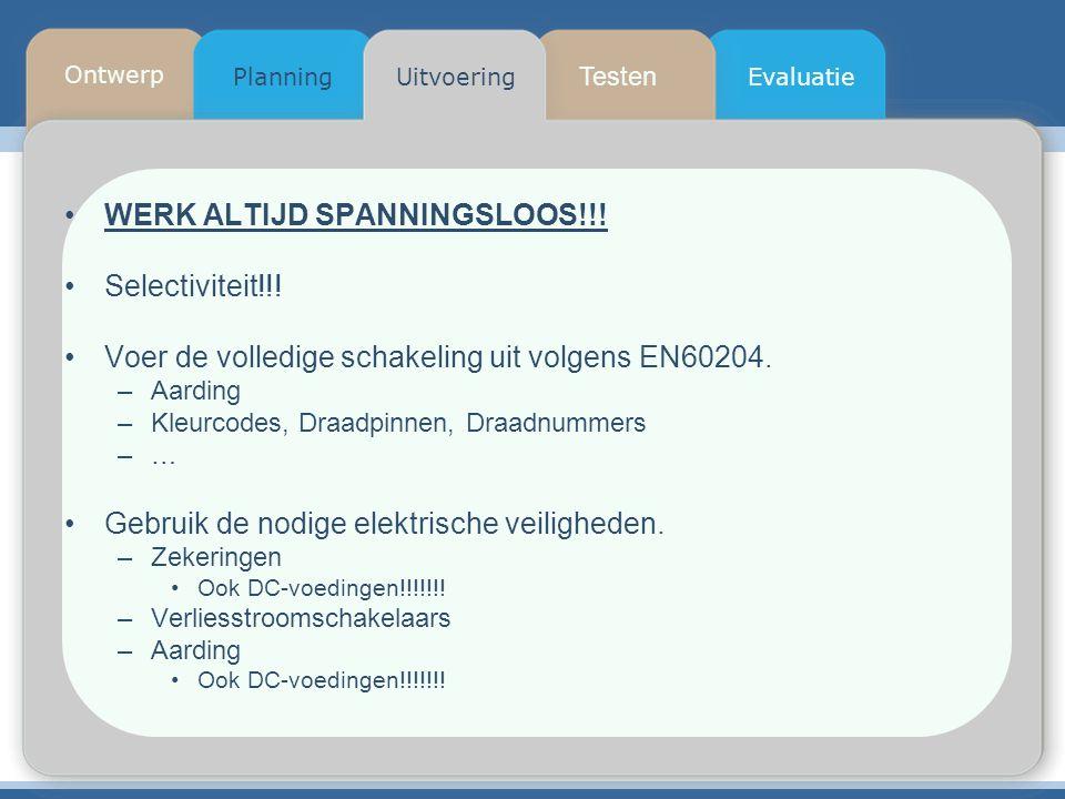 Testen Planning Ontwerp UitvoeringEvaluatie WERK ALTIJD SPANNINGSLOOS!!! Selectiviteit!!! Voer de volledige schakeling uit volgens EN60204. –Aarding –