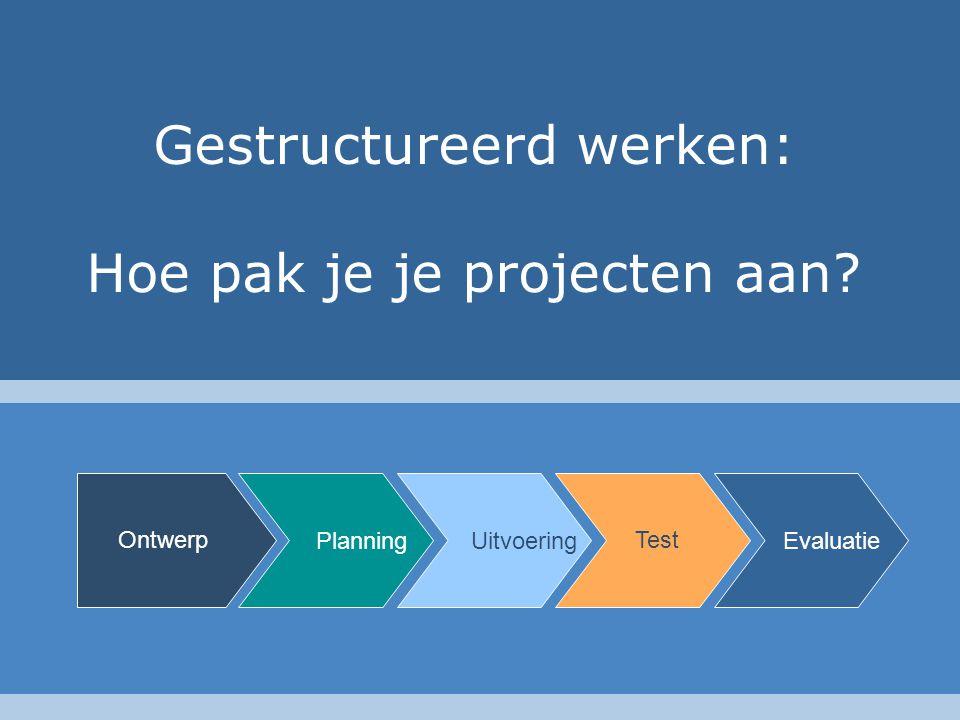 Gestructureerd werken: Hoe pak je je projecten aan? Planning Ontwerp Uitvoering Test Evaluatie