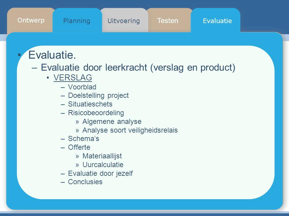 Testen Planning Ontwerp UitvoeringEvaluatie Evaluatie. –Evaluatie door leerkracht (verslag en product) VERSLAG –Voorblad –Doelstelling project –Situat