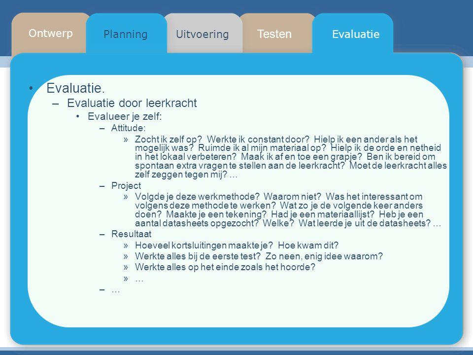Testen Planning Ontwerp UitvoeringEvaluatie Evaluatie. –Evaluatie door leerkracht Evalueer je zelf: –Attitude: »Zocht ik zelf op? Werkte ik constant d