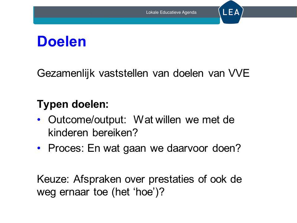 Doelen Gezamenlijk vaststellen van doelen van VVE Typen doelen: Outcome/output: Wat willen we met de kinderen bereiken.