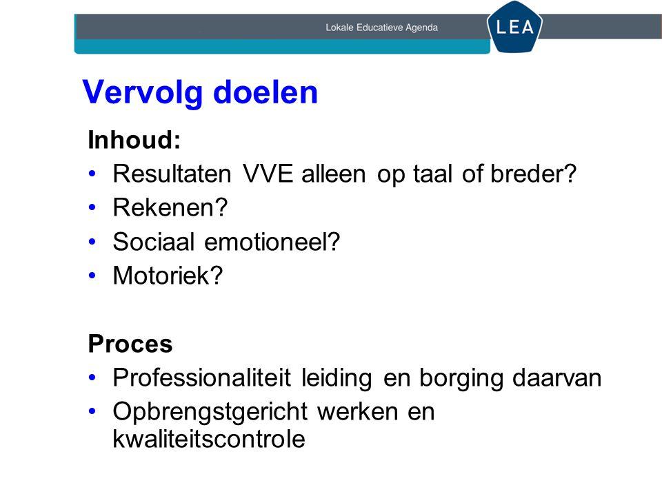 Vervolg doelen Inhoud: Resultaten VVE alleen op taal of breder.