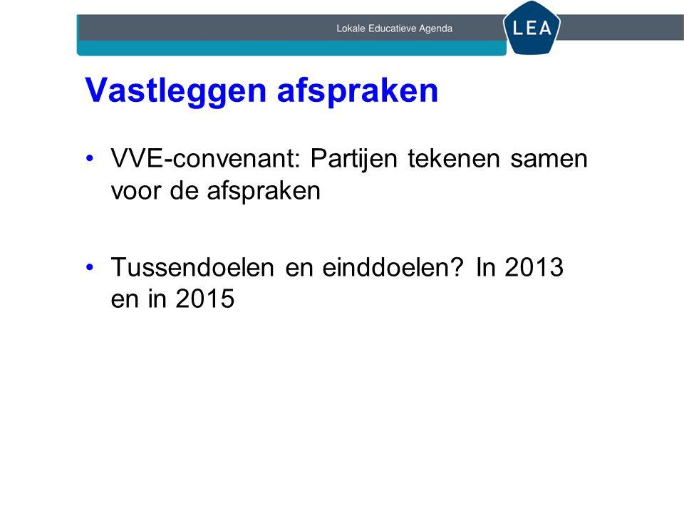 Vastleggen afspraken VVE-convenant: Partijen tekenen samen voor de afspraken Tussendoelen en einddoelen.