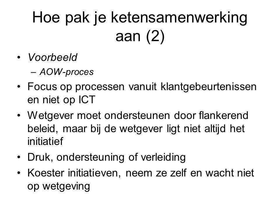 Hoe pak je ketensamenwerking aan (2) Voorbeeld –AOW-proces Focus op processen vanuit klantgebeurtenissen en niet op ICT Wetgever moet ondersteunen doo