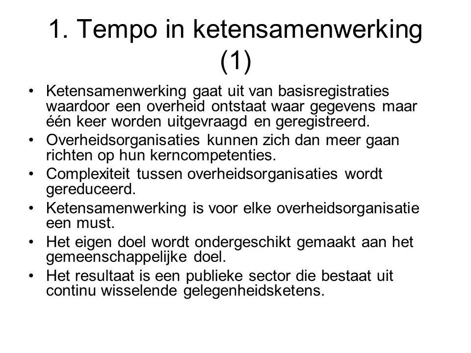 1. Tempo in ketensamenwerking (1) Ketensamenwerking gaat uit van basisregistraties waardoor een overheid ontstaat waar gegevens maar één keer worden u