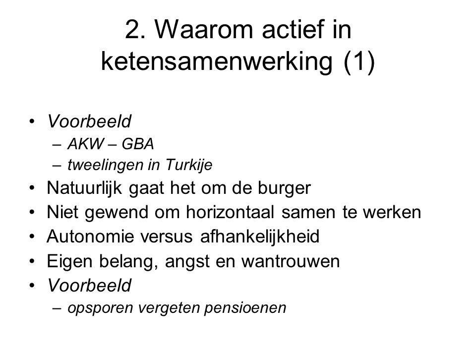 2. Waarom actief in ketensamenwerking (1) Voorbeeld –AKW – GBA –tweelingen in Turkije Natuurlijk gaat het om de burger Niet gewend om horizontaal same