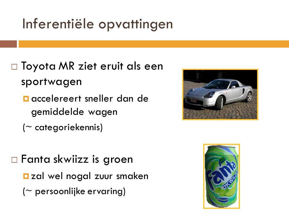 Inferentiële opvattingen  Toyota MR ziet eruit als een sportwagen  accelereert sneller dan de gemiddelde wagen (~ categoriekennis)  Fanta skwiizz is groen  zal wel nogal zuur smaken (~ persoonlijke ervaring)