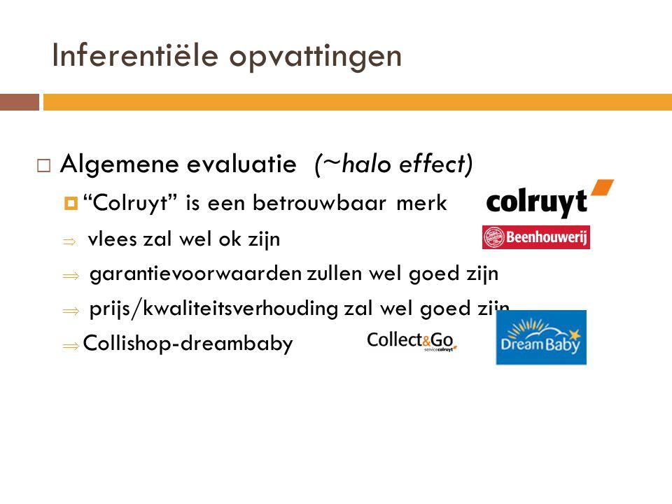 Inferentiële opvattingen  Algemene evaluatie (~halo effect)  Colruyt is een betrouwbaar merk  vlees zal wel ok zijn  garantievoorwaarden zullen wel goed zijn  prijs/kwaliteitsverhouding zal wel goed zijn  Collishop-dreambaby