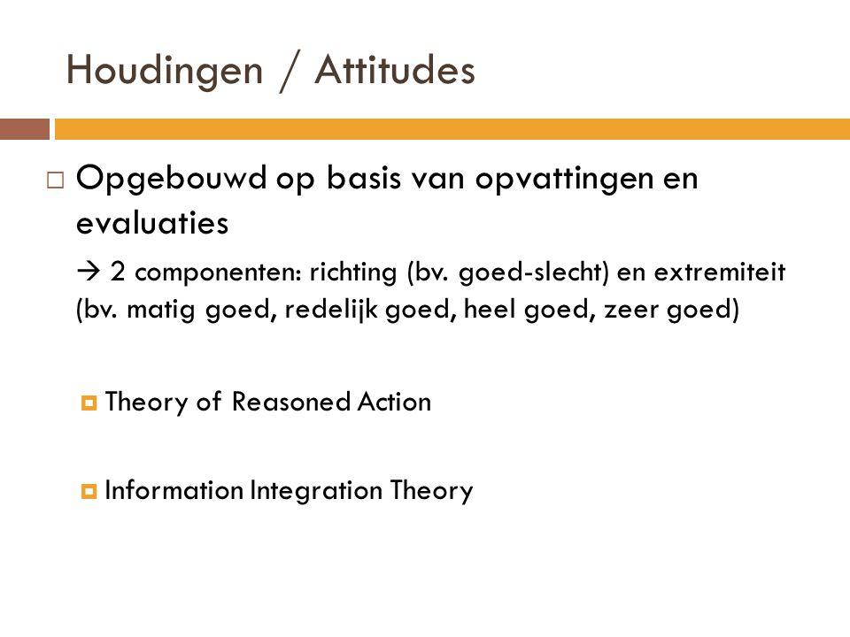 Houdingen / Attitudes  Opgebouwd op basis van opvattingen en evaluaties  2 componenten: richting (bv.