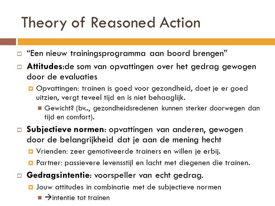 Theory of Reasoned Action  Een nieuw trainingsprogramma aan boord brengen  Attitudes:de som van opvattingen over het gedrag gewogen door de evaluaties  Opvattingen: trainen is goed voor gezondheid, doet je er goed uitzien, vergt teveel tijd en is niet behaaglijk.