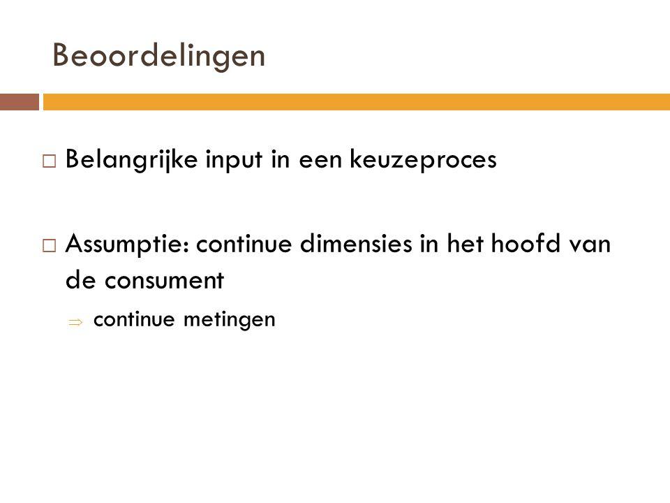 Beoordelingen  Belangrijke input in een keuzeproces  Assumptie: continue dimensies in het hoofd van de consument  continue metingen