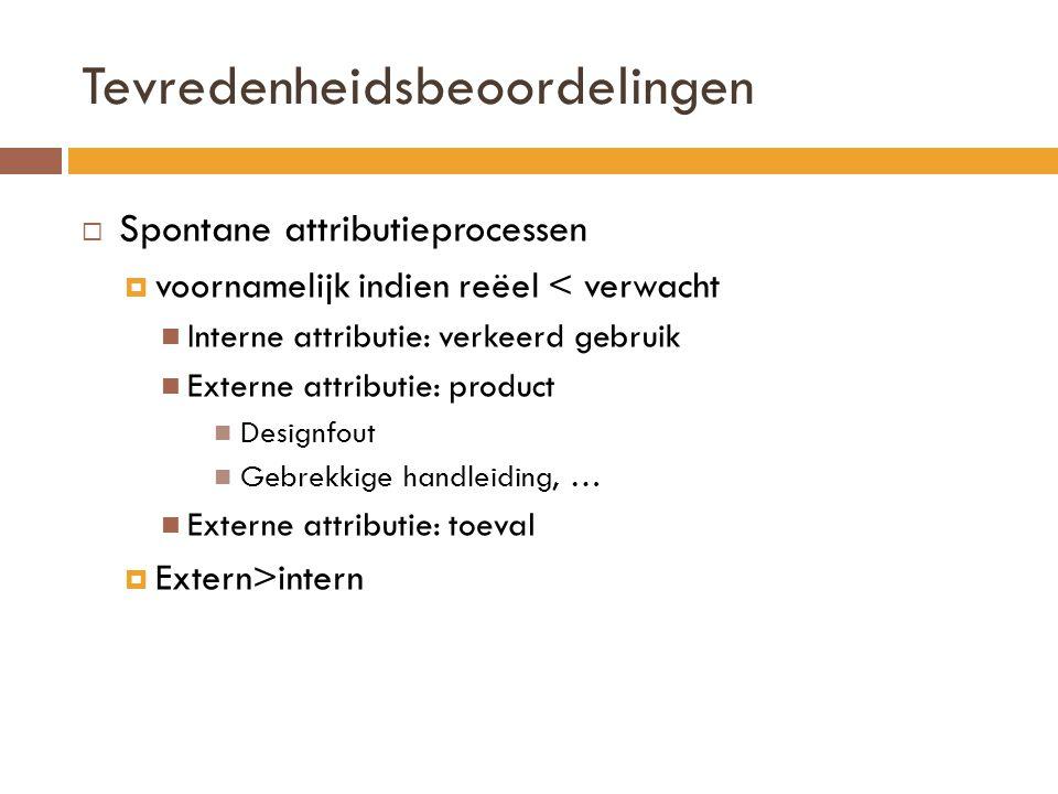 Tevredenheidsbeoordelingen  Spontane attributieprocessen  voornamelijk indien reëel < verwacht Interne attributie: verkeerd gebruik Externe attributie: product Designfout Gebrekkige handleiding, … Externe attributie: toeval  Extern>intern