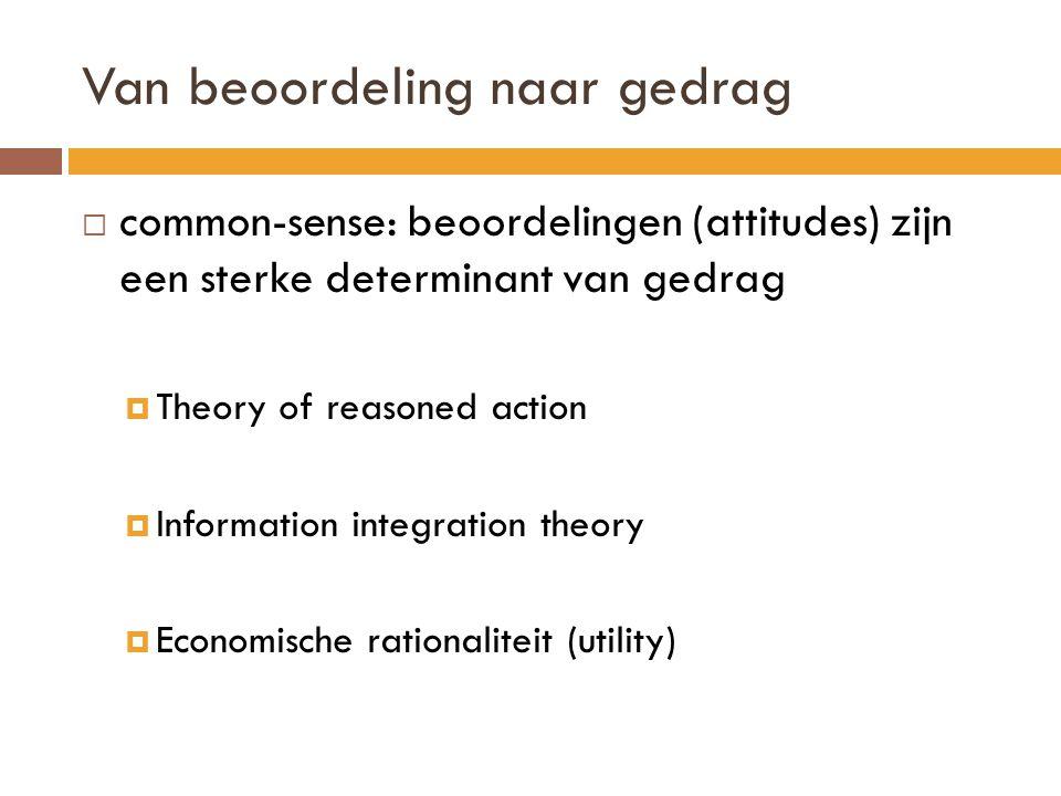 Van beoordeling naar gedrag  common-sense: beoordelingen (attitudes) zijn een sterke determinant van gedrag  Theory of reasoned action  Information integration theory  Economische rationaliteit (utility)