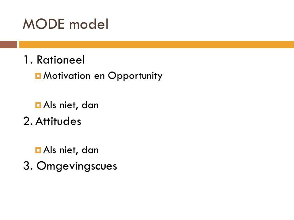 1.Rationeel  Motivation en Opportunity  Als niet, dan 2.