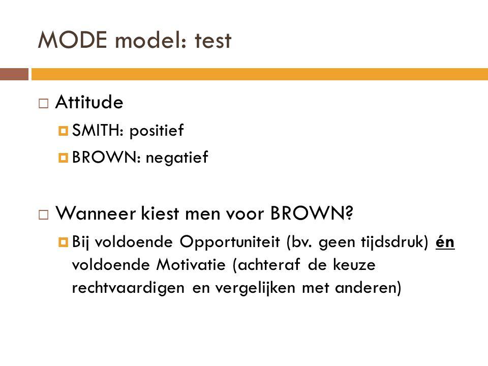 MODE model: test  Attitude  SMITH: positief  BROWN: negatief  Wanneer kiest men voor BROWN.