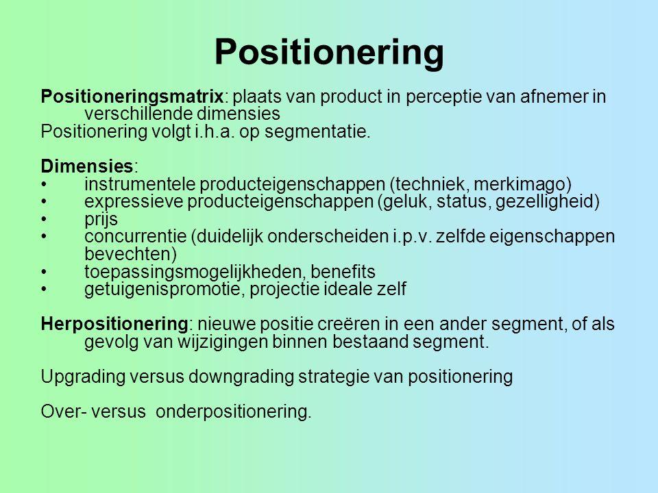 Positionering Positioneringsmatrix: plaats van product in perceptie van afnemer in verschillende dimensies Positionering volgt i.h.a. op segmentatie.