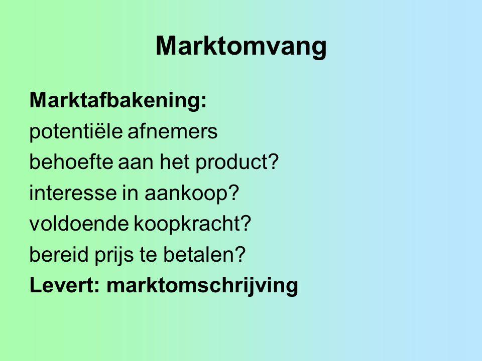 Marktomvang Marktafbakening: potentiële afnemers behoefte aan het product? interesse in aankoop? voldoende koopkracht? bereid prijs te betalen? Levert