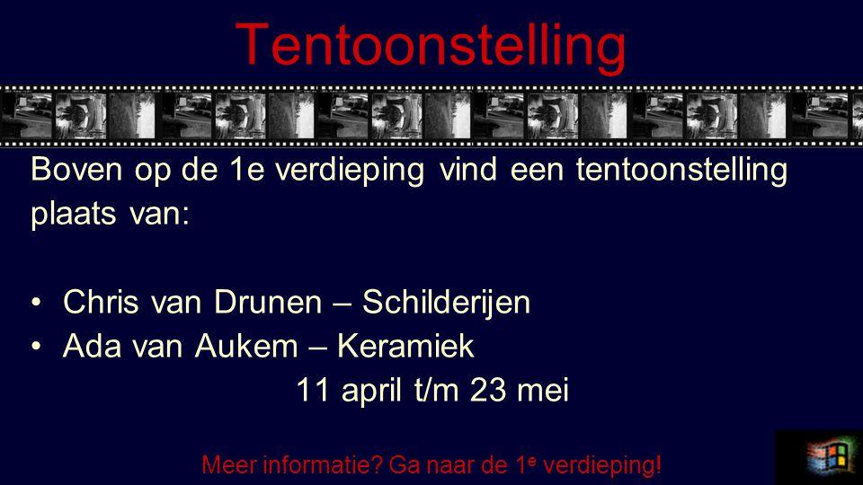 Tentoonstelling Boven op de 1e verdieping vind een tentoonstelling plaats van: Chris van Drunen – Schilderijen Ada van Aukem – Keramiek 11 april t/m 2