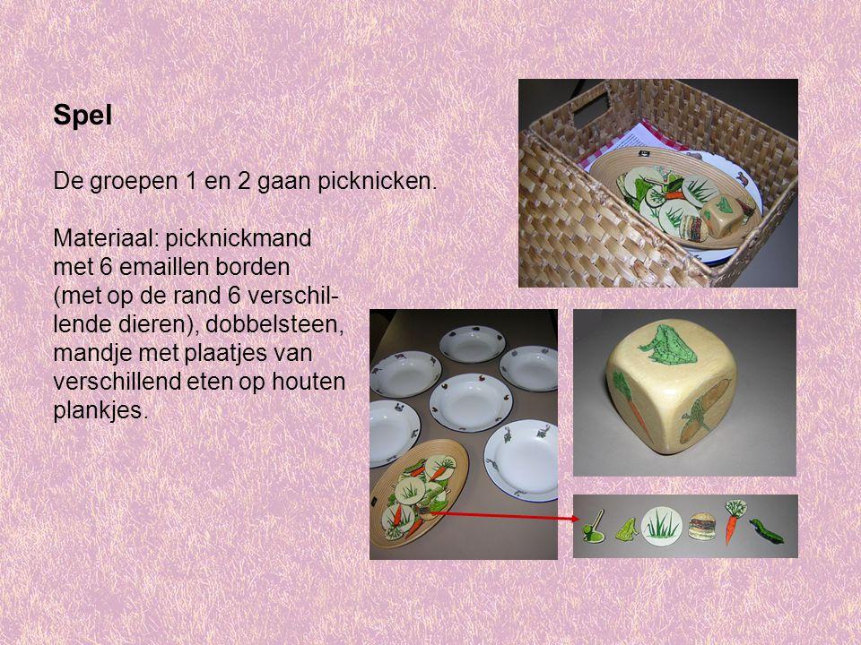 Spel De groepen 1 en 2 gaan picknicken. Materiaal: picknickmand met 6 emaillen borden (met op de rand 6 verschil- lende dieren), dobbelsteen, mandje m