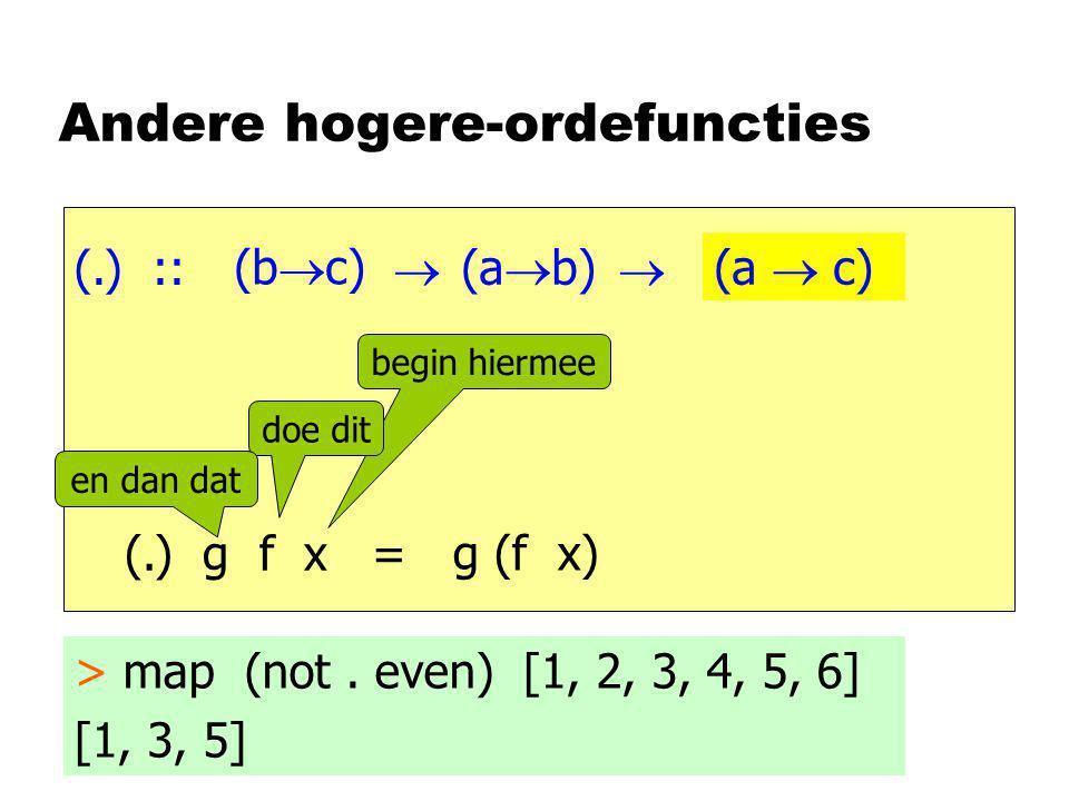 Andere hogere-ordefuncties (.) ::    begin hiermee doe dit en dan dat > map (not. even) [1, 2, 3, 4, 5, 6] [1, 3, 5] (.) g f x = g (f x) a (a  b)
