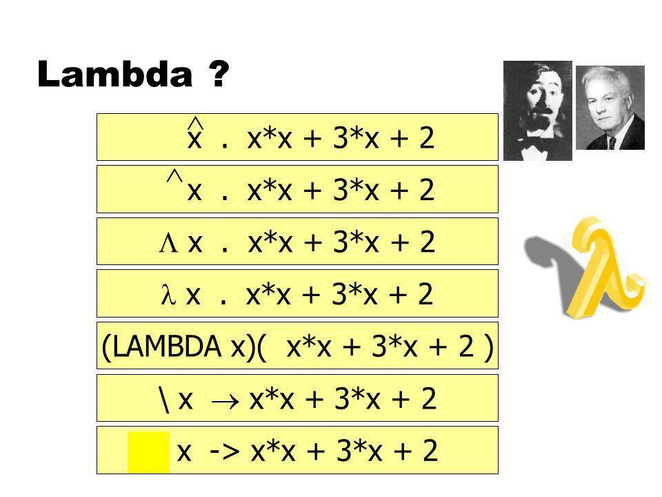 Lambda . x. x*x + 3*x + 2    x. x*x + 3*x + 2 x.