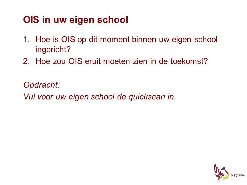 OIS in uw eigen school 1.Hoe is OIS op dit moment binnen uw eigen school ingericht? 2.Hoe zou OIS eruit moeten zien in de toekomst? Opdracht: Vul voor