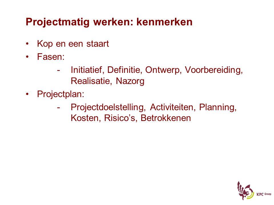 Projectmatig werken: kenmerken Kop en een staart Fasen: -Initiatief, Definitie, Ontwerp, Voorbereiding, Realisatie, Nazorg Projectplan: -Projectdoelst