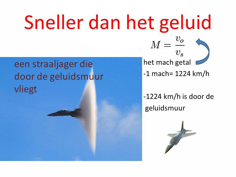 Sneller dan het geluid het mach getal -1 mach= 1224 km/h -1224 km/h is door de geluidsmuur een straaljager die door de geluidsmuur vliegt