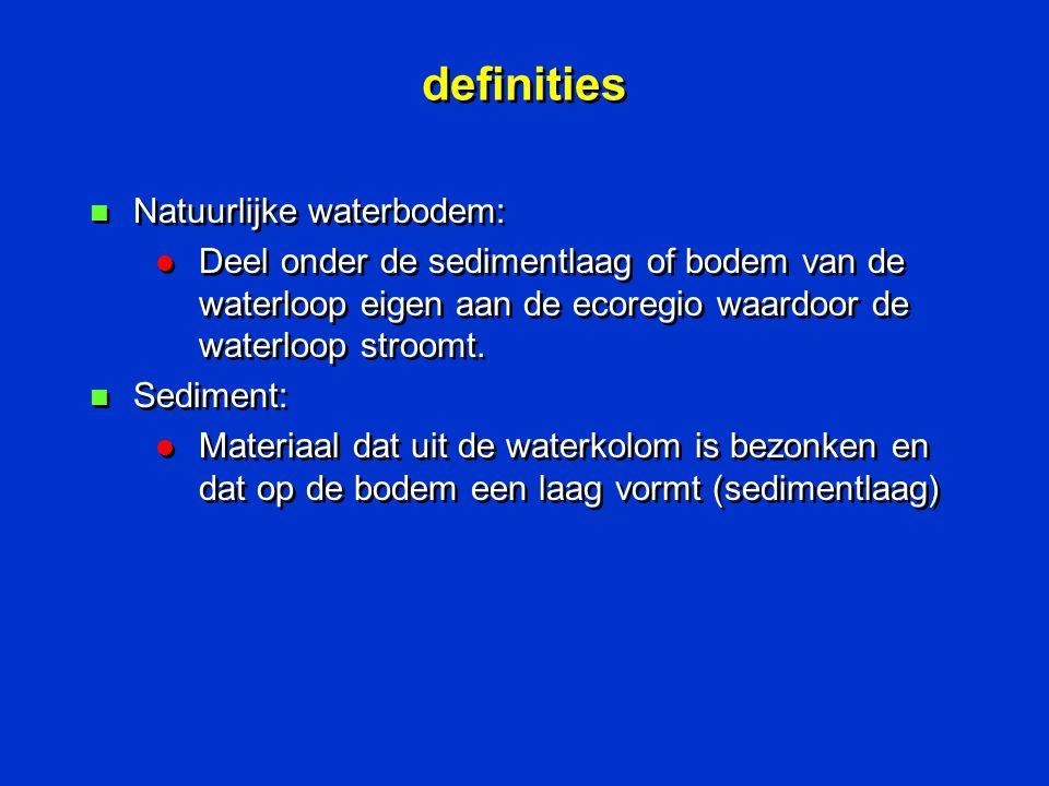 definities n Natuurlijke waterbodem: l Deel onder de sedimentlaag of bodem van de waterloop eigen aan de ecoregio waardoor de waterloop stroomt. n Sed