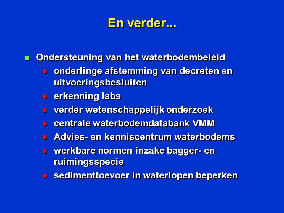 En verder... n Ondersteuning van het waterbodembeleid l onderlinge afstemming van decreten en uitvoeringsbesluiten l erkenning labs l verder wetenscha