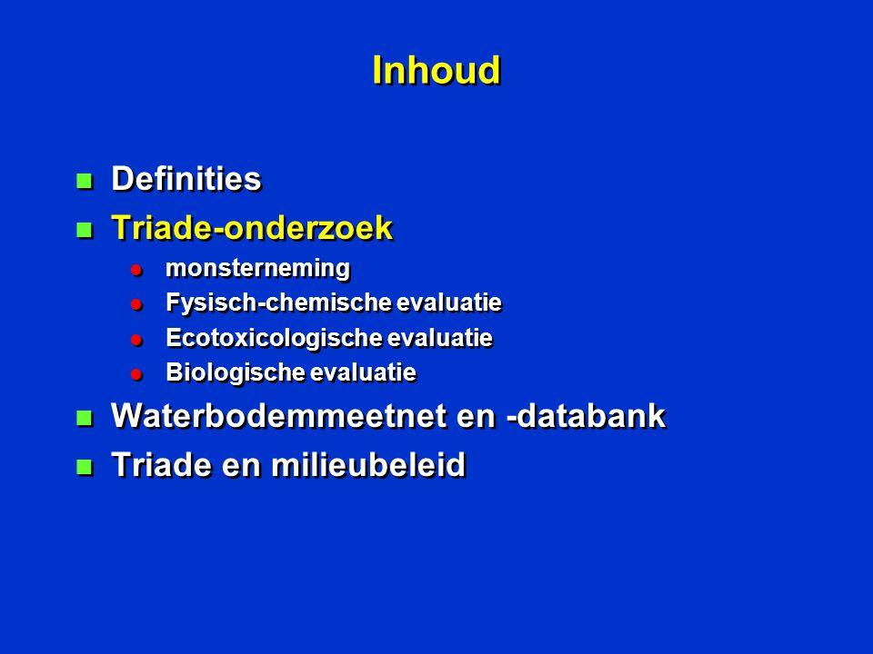 Parameters n Zware metalen: l arseen, cadmium, chroom, koper, kwik, lood, nikkel, zink + tin, selenium n organische verontreinigingen l minerale olie, eox, chloorpesticiden, pcb, pak, VOS n Fysische parameters: l OS (TOC) l granulometrie ( 63µ) n Ecotoxicologische parameters n Biologische parameters n Zware metalen: l arseen, cadmium, chroom, koper, kwik, lood, nikkel, zink + tin, selenium n organische verontreinigingen l minerale olie, eox, chloorpesticiden, pcb, pak, VOS n Fysische parameters: l OS (TOC) l granulometrie ( 63µ) n Ecotoxicologische parameters n Biologische parameters