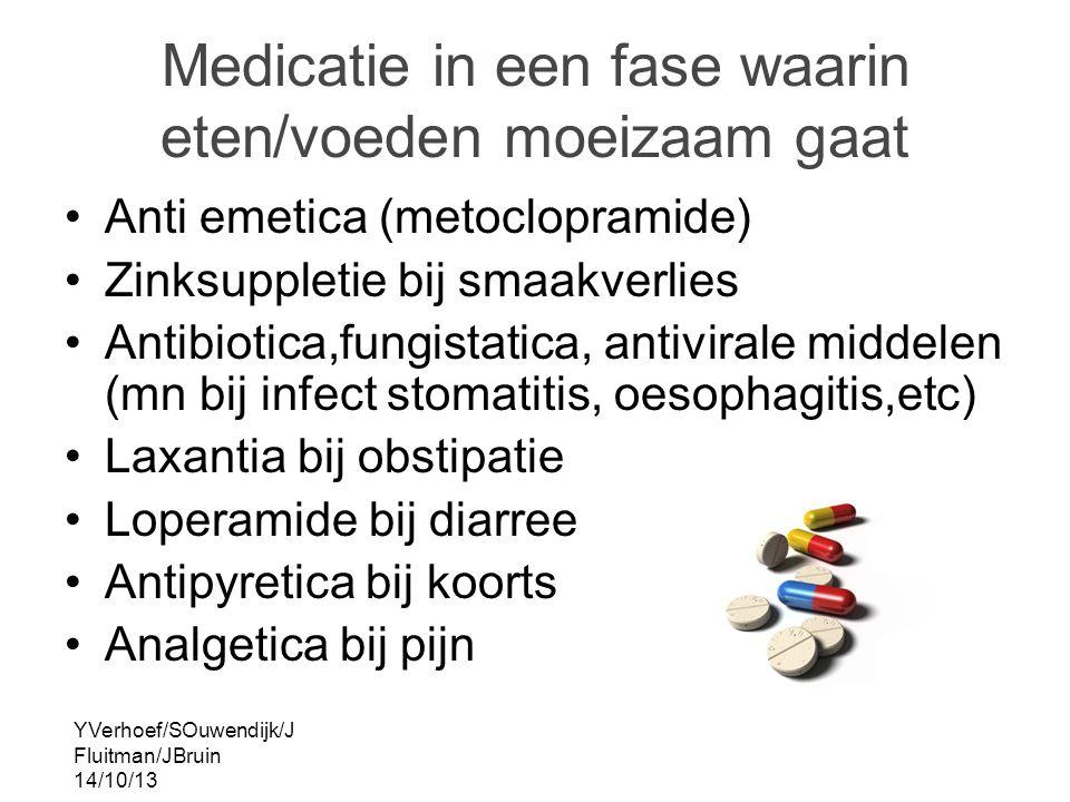 YVerhoef/SOuwendijk/J Fluitman/JBruin 14/10/13 Medicatie in een fase waarin eten/voeden moeizaam gaat Anti emetica (metoclopramide) Zinksuppletie bij smaakverlies Antibiotica,fungistatica, antivirale middelen (mn bij infect stomatitis, oesophagitis,etc) Laxantia bij obstipatie Loperamide bij diarree Antipyretica bij koorts Analgetica bij pijn