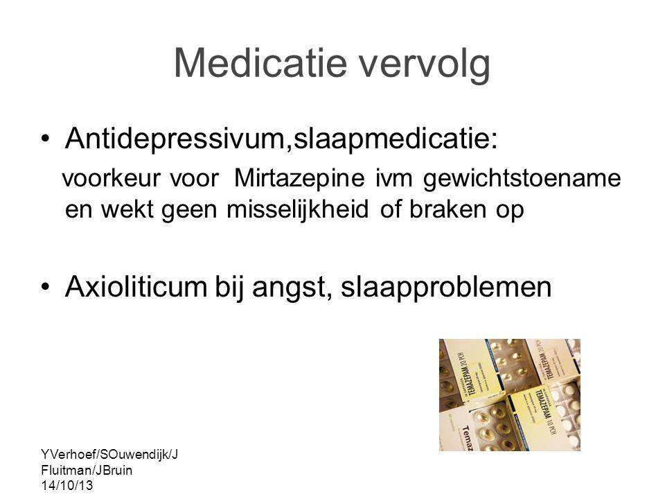 YVerhoef/SOuwendijk/J Fluitman/JBruin 14/10/13 Medicatie vervolg Antidepressivum,slaapmedicatie: voorkeur voor Mirtazepine ivm gewichtstoename en wekt geen misselijkheid of braken op Axioliticum bij angst, slaapproblemen