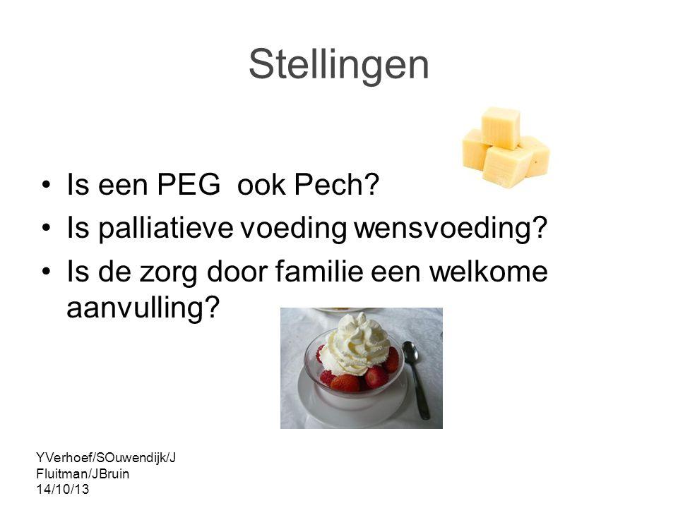 YVerhoef/SOuwendijk/J Fluitman/JBruin 14/10/13 Stellingen Is een PEG ook Pech.
