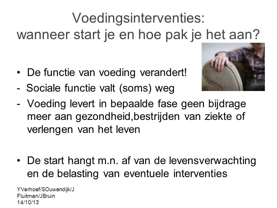 YVerhoef/SOuwendijk/J Fluitman/JBruin 14/10/13 voedingsinterventies Adequate voeding Aanvullende voeding Palliatieve voeding Sondevoeding Parenterale of infuusvoeding Alternatieve voeding