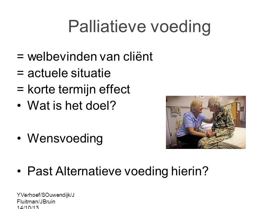 YVerhoef/SOuwendijk/J Fluitman/JBruin 14/10/13 Palliatieve voeding = welbevinden van cliënt = actuele situatie = korte termijn effect Wat is het doel.