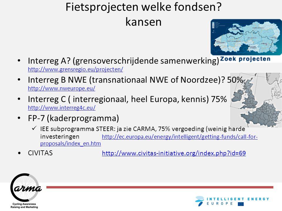 Fietsprojecten welke fondsen? kansen Interreg A? (grensoverschrijdende samenwerking) http://www.grensregio.eu/projecten/ http://www.grensregio.eu/proj