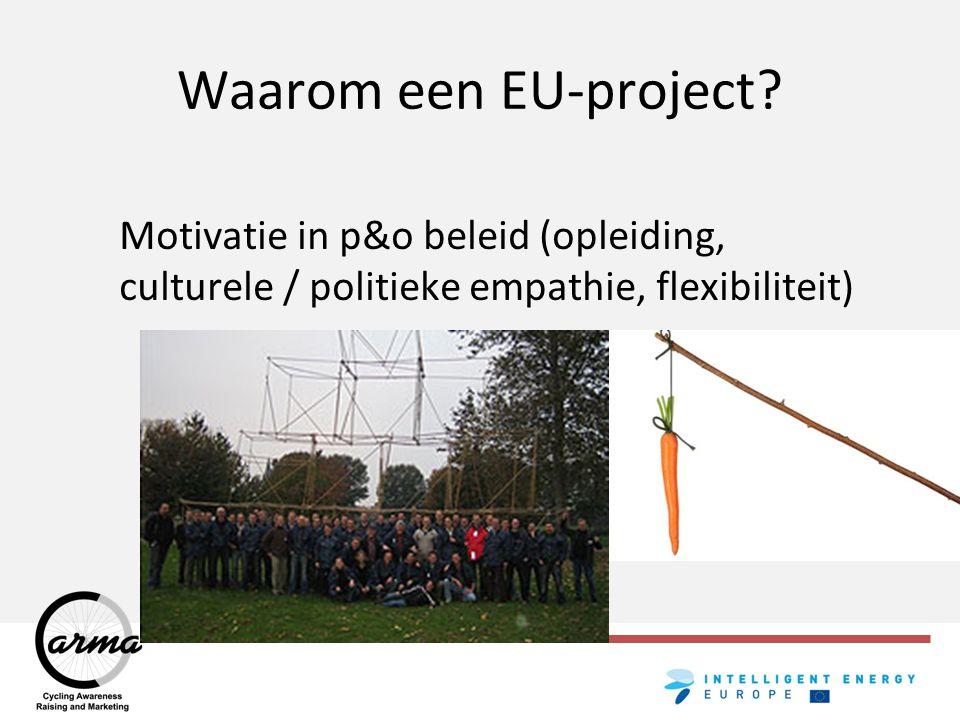 Waarom een EU-project? Uitvoeringsdruk