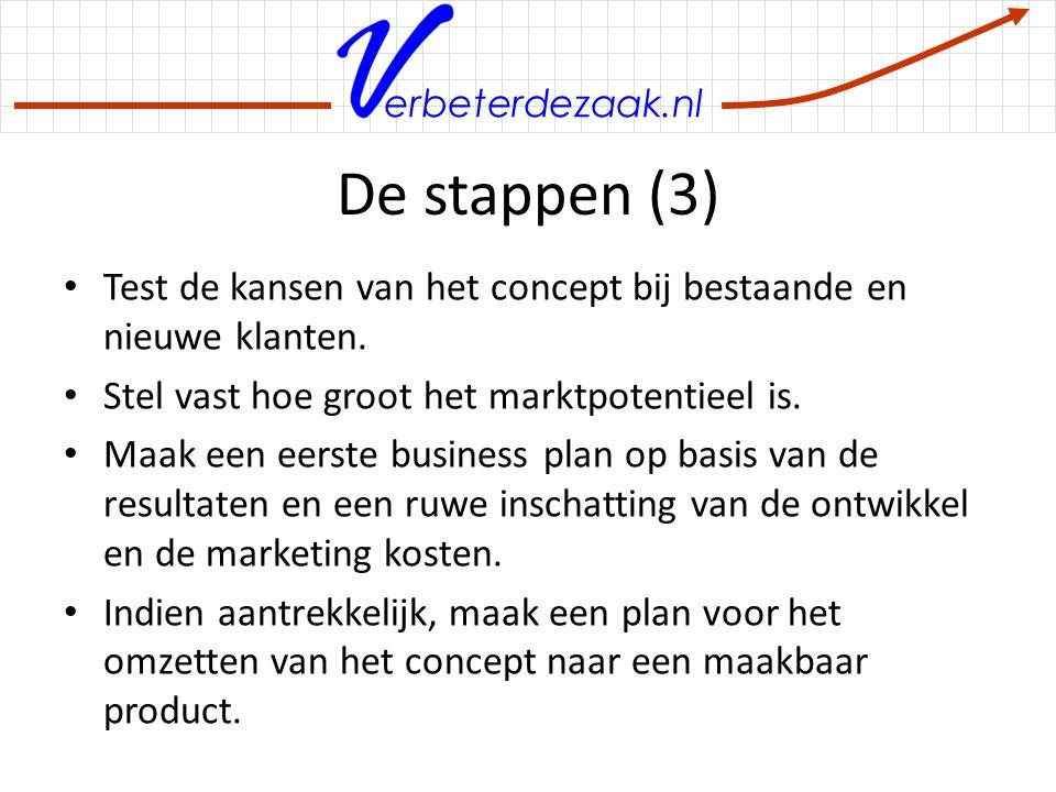 erbeterdezaak.nl De stappen (3) Test de kansen van het concept bij bestaande en nieuwe klanten. Stel vast hoe groot het marktpotentieel is. Maak een e