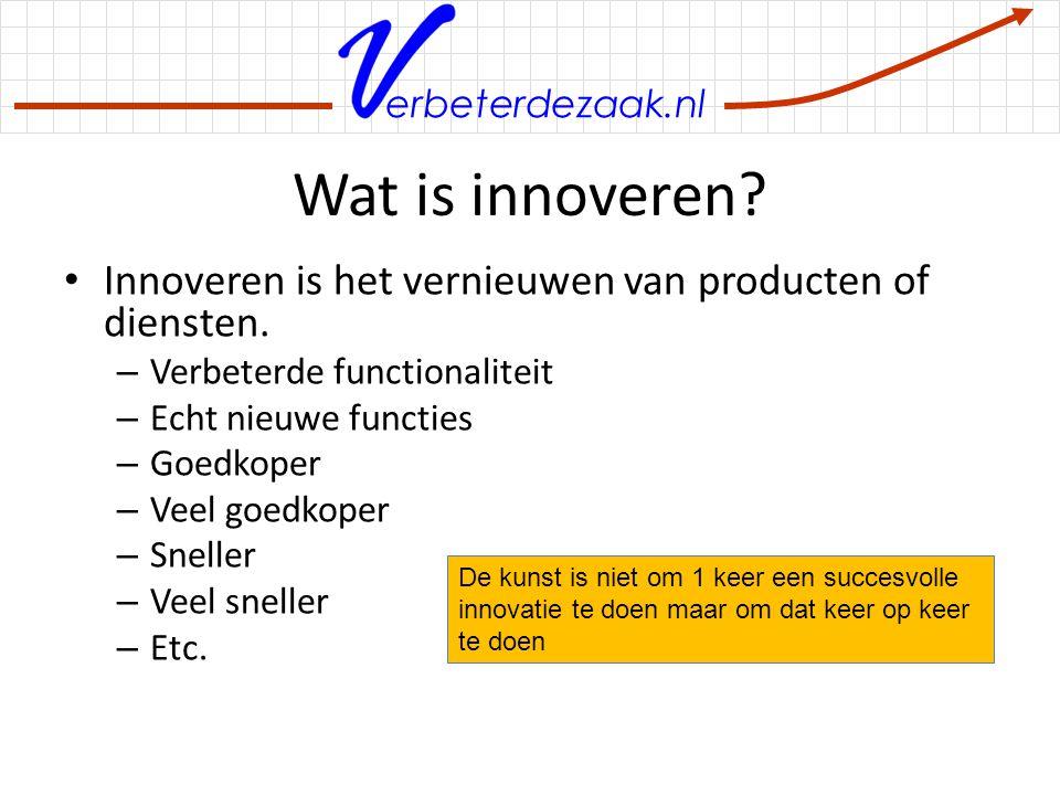 erbeterdezaak.nl Wat is innoveren? Innoveren is het vernieuwen van producten of diensten. – Verbeterde functionaliteit – Echt nieuwe functies – Goedko