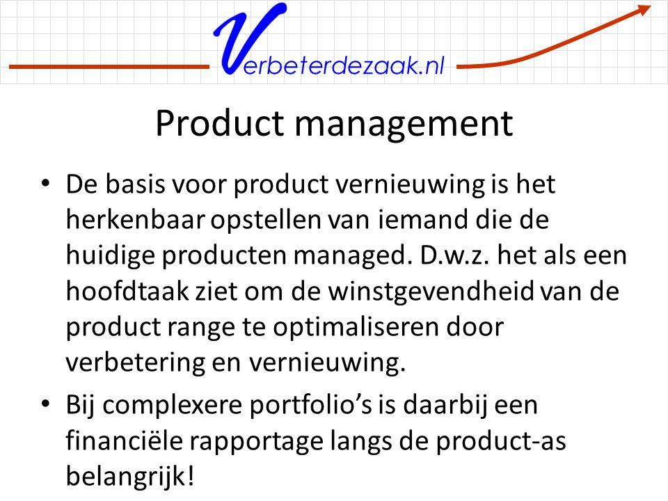 erbeterdezaak.nl Product management De basis voor product vernieuwing is het herkenbaar opstellen van iemand die de huidige producten managed. D.w.z.