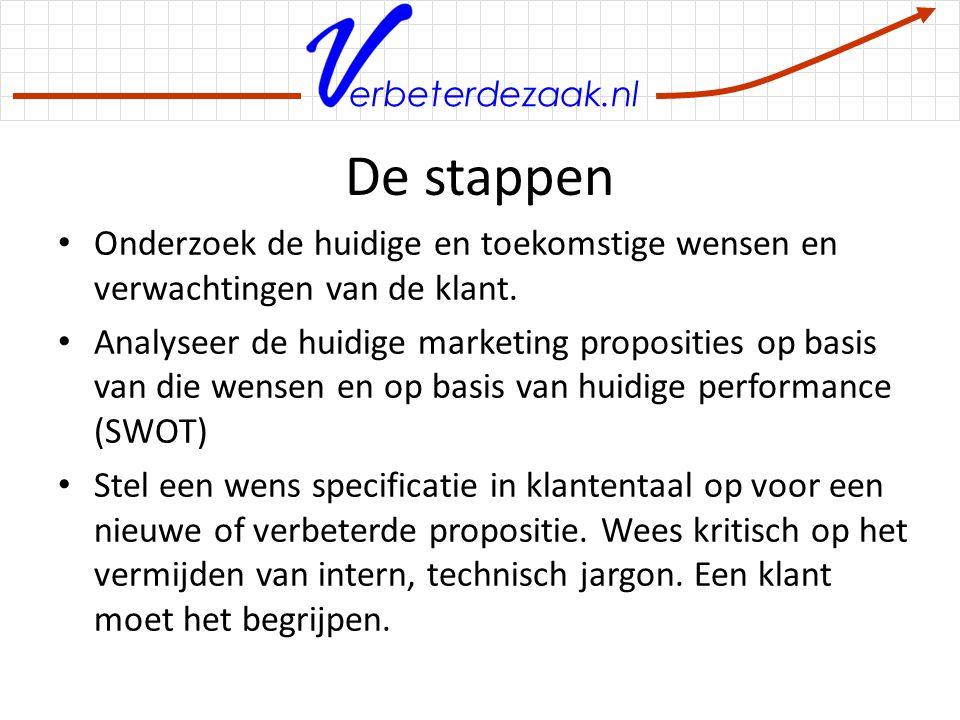 erbeterdezaak.nl De stappen (2) Brainstorm nieuwe concepten gebaseerd op de wens specificatie of doe een QFD sessie Kies een concept op basis van attractiviteit en nieuwheid Brainstorm oplossingen voor de eventuele problemen die nog in het concept zitten Maak het concept demonstreerbaar voor de klant.