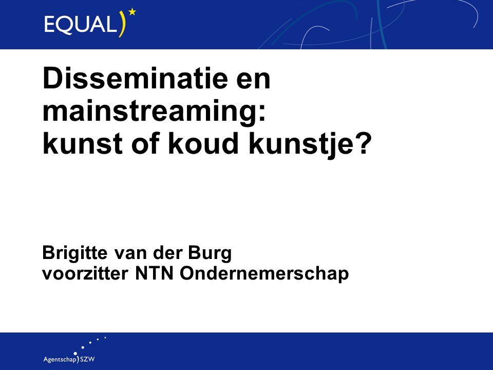 Brigitte van der Burg voorzitter NTN Ondernemerschap Disseminatie en mainstreaming: kunst of koud kunstje?