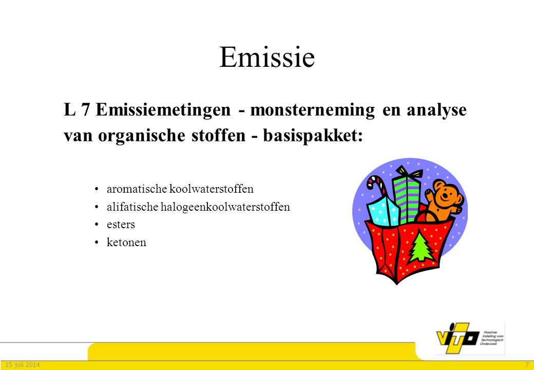 715 juli 2014 Emissie L 7 Emissiemetingen - monsterneming en analyse van organische stoffen - basispakket: aromatische koolwaterstoffen alifatische ha