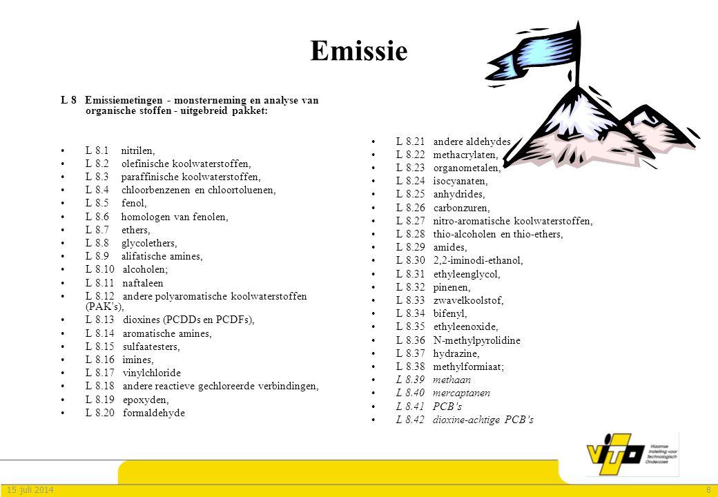 815 juli 2014 Emissie L 8 Emissiemetingen - monsterneming en analyse van organische stoffen - uitgebreid pakket: L 8.1 nitrilen, L 8.2 olefinische koo