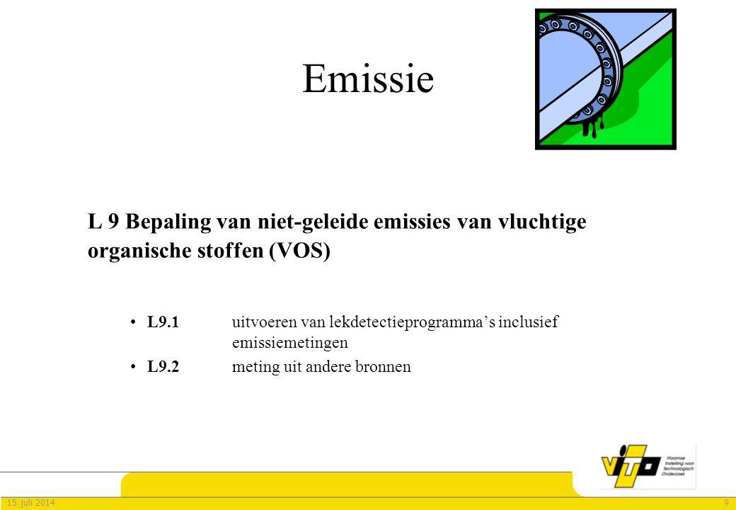 915 juli 2014 Emissie L 9 Bepaling van niet-geleide emissies van vluchtige organische stoffen (VOS) L9.1 uitvoeren van lekdetectieprogramma's inclusief emissiemetingen L9.2 meting uit andere bronnen