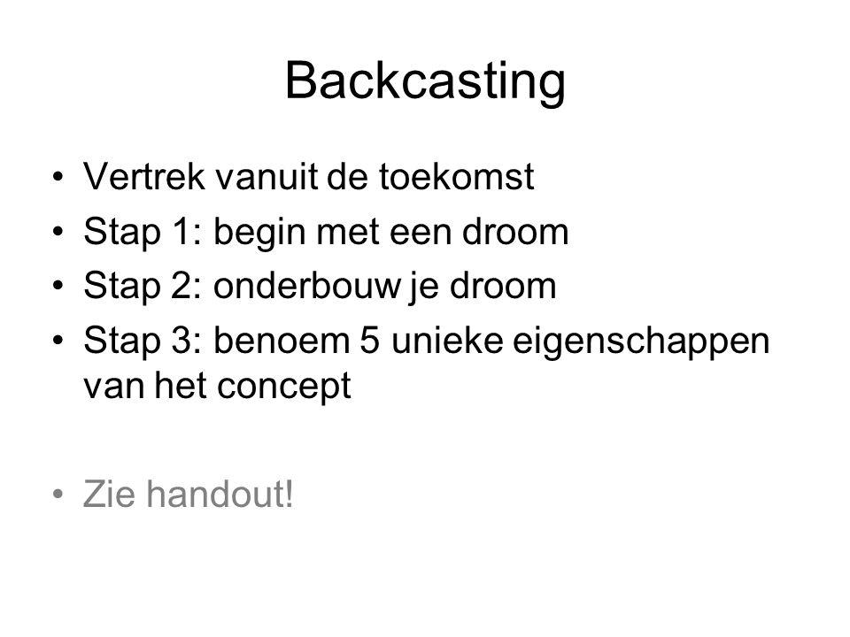 Backcasting Vertrek vanuit de toekomst Stap 1: begin met een droom Stap 2: onderbouw je droom Stap 3: benoem 5 unieke eigenschappen van het concept Zie handout!
